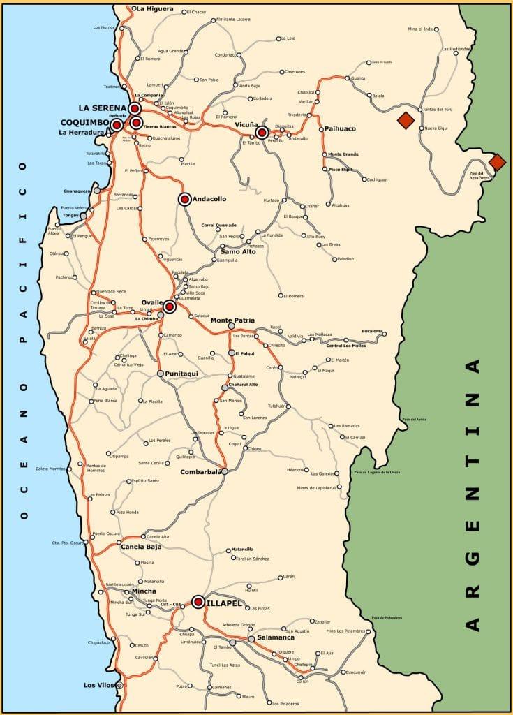 Mapa Ovalle. Chile