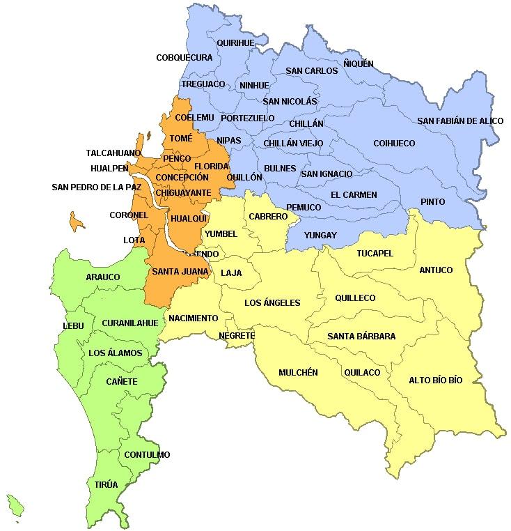 mapa quilaco region